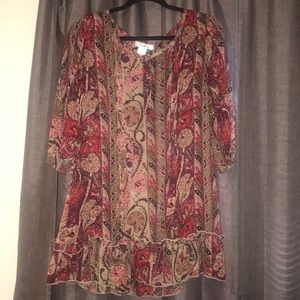pinkey brand paisley sheer blouse